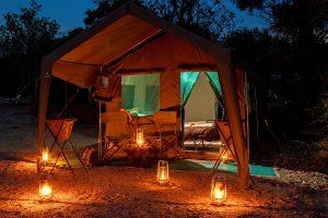 Evening mobile safari tent botswana