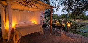 Ruckomechi Camp sleep out deck in Mana Pools National Park, Zimbabwe