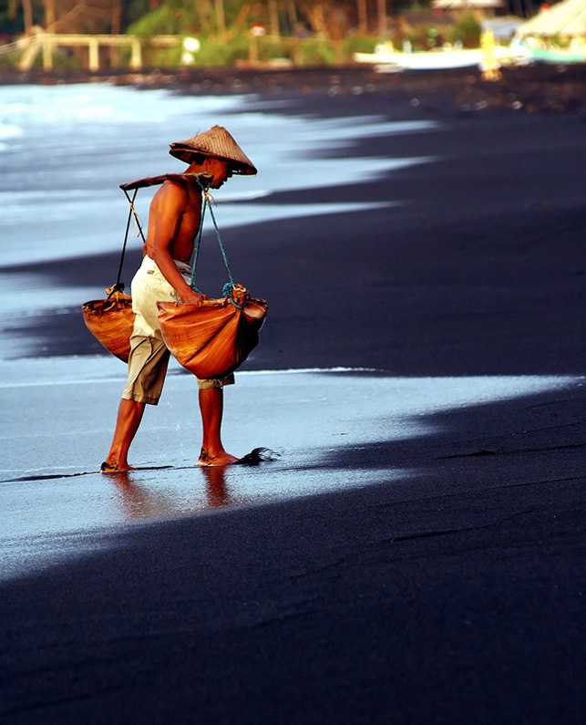 Salt farmer in Bali